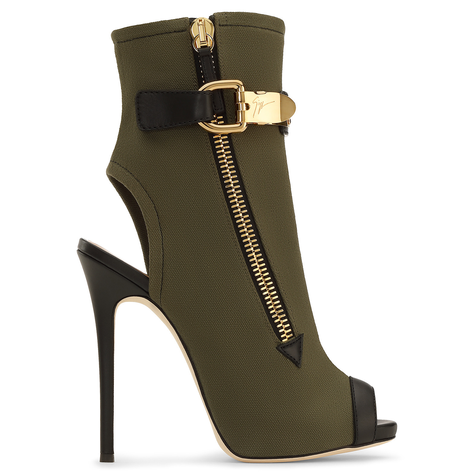 Giuseppe Zanotti Woman Roxie Leather-Trimmed Canvas Ankle Boots Army Green