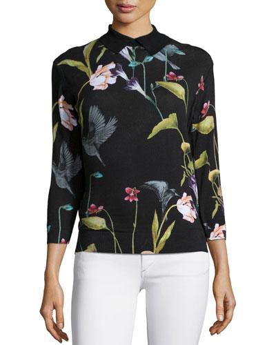Ted Baker Sundryy Floral-Print Top, Black