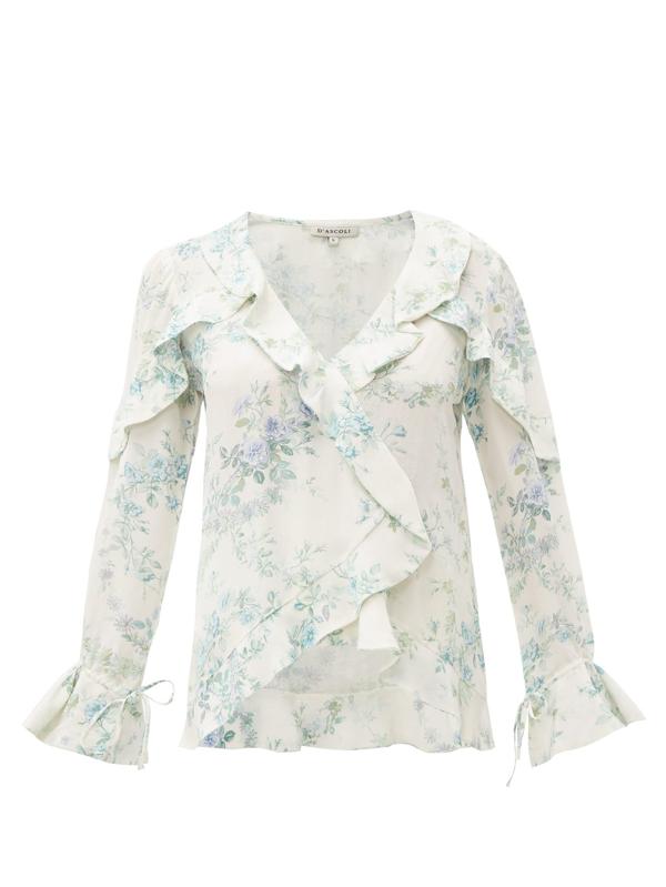D'ascoli Bedford Floral-print Ruffle-trim Silk Top In Blue