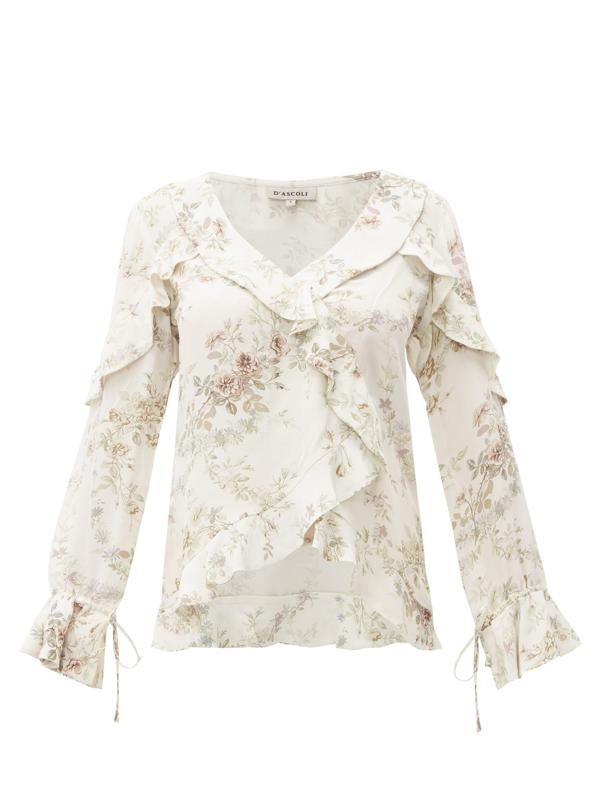 D'ascoli Bedford Floral-print Ruffle-trim Silk Top In Beige