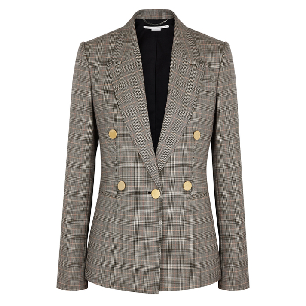 Stella Mccartney Double-Breasted Prince Of Wales Checked Wool Jacket In Black