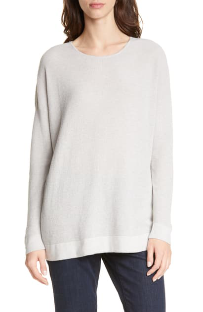 Eileen Fisher Petite Scoop-Neck Long-Sleeve Waffle-Knit Sweater In Pearl