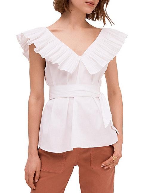 Kate Spade Ruffle Neck Tie Waist Top In Fresh White