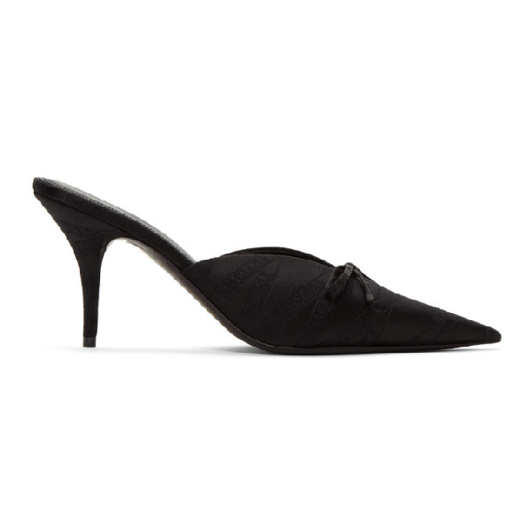 Balenciaga 80Mm Knife Silk Blend Jacquard Logo Mule In 1000 Black