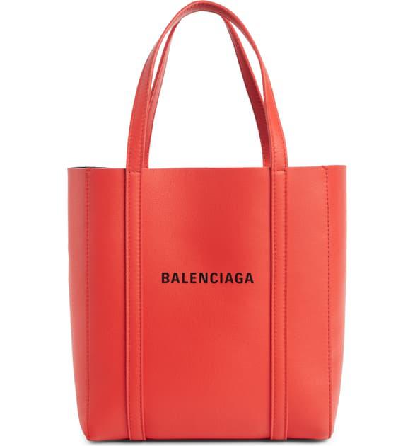 Balenciaga Extra Small Everyday Logo Calfskin Tote - Red In Vivid Red/ Black