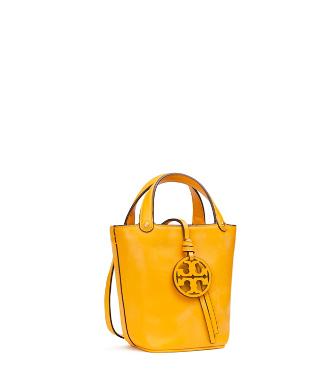 Tory Burch Mini Miller Leather Bucket Bag - Yellow In Deep Daffodil