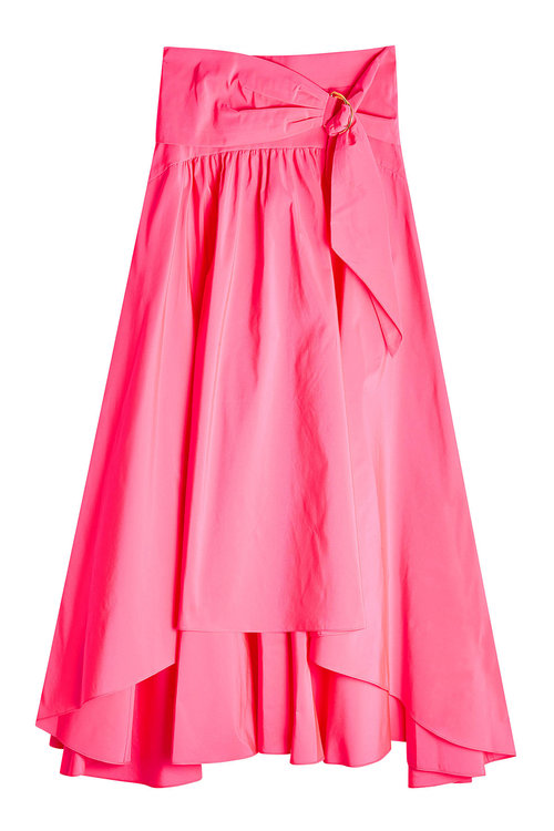 Peter Pilotto Asymmetric Taffeta Midi Skirt In Magenta