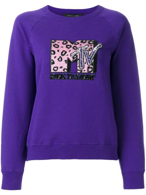 Marc Jacobs Embellished Mtv Logo Sweatshirt In Purple