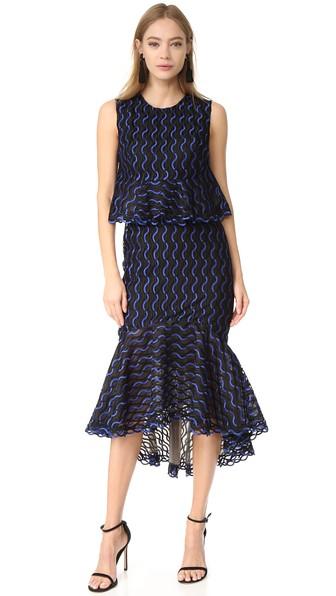 Lela Rose Ruffle Skirt Dress In Lapis/black