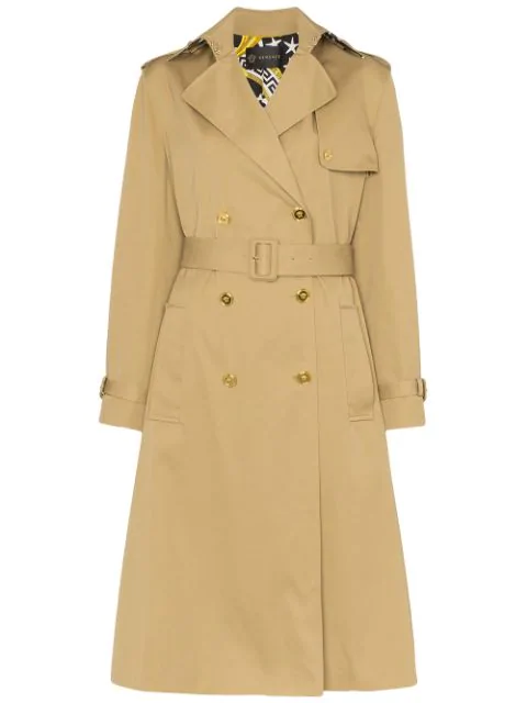 Versace Paneled Double-Breasted Gabardine Trench Coat In Neutrals
