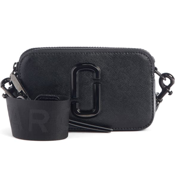 Marc Jacobs Snapshot Leather Crossbody Bag In Black