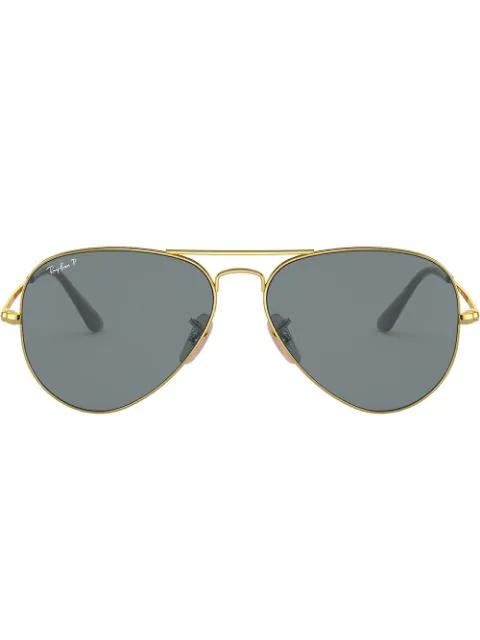 Ray Ban Aviator Sunglasses In Gold