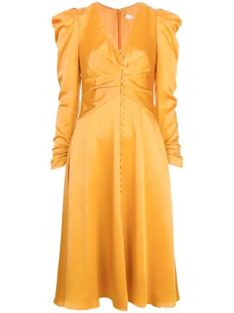 Jonathan Simkhai Sateen Long-sleeve Ruched Dress In Orange