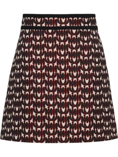 Miu Miu Logo Print A-Line Skirt In Neutrals