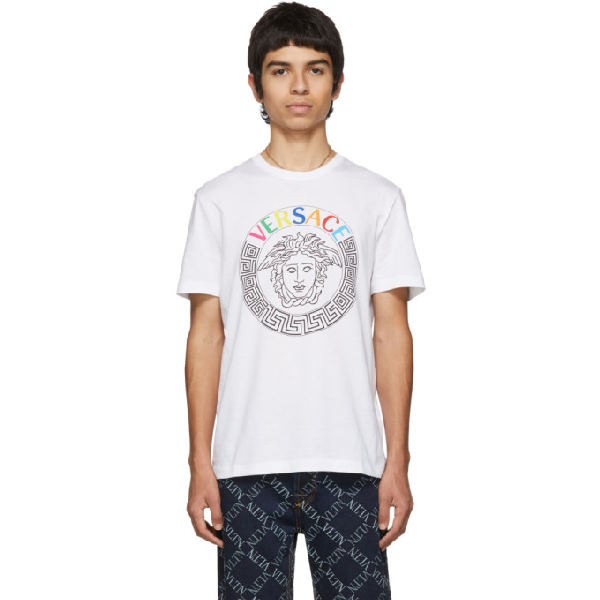 Versace Multicolored Embroidered Logo T-Shirt In A001 White