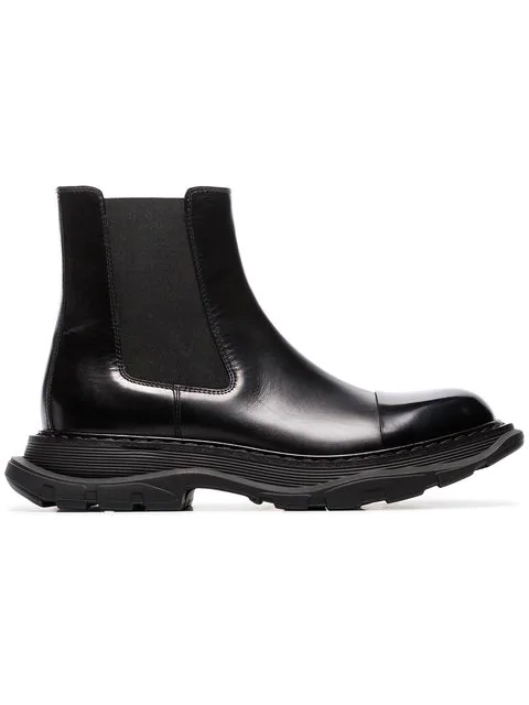 Alexander Mcqueen Panelled Leather Wedge Chelsea Boots In Black