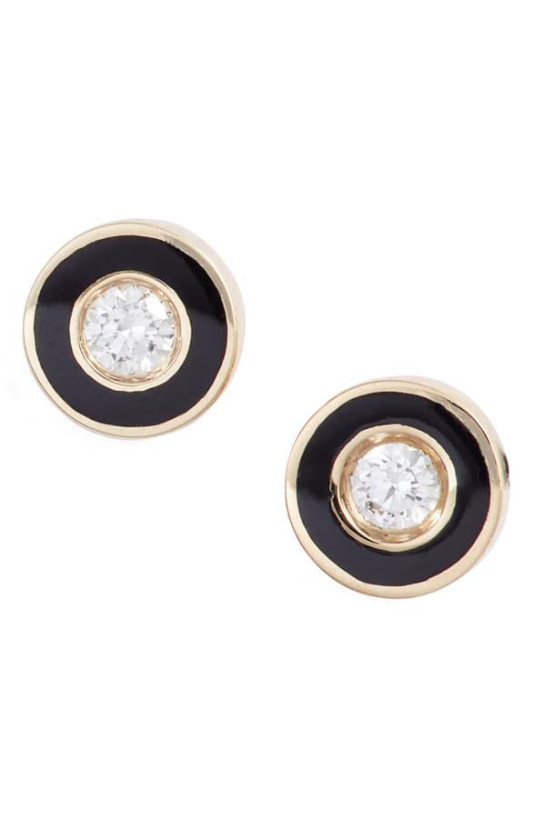 Ef Collection Enamel Diamond Stud Earrings In Yellow Gold/ Black