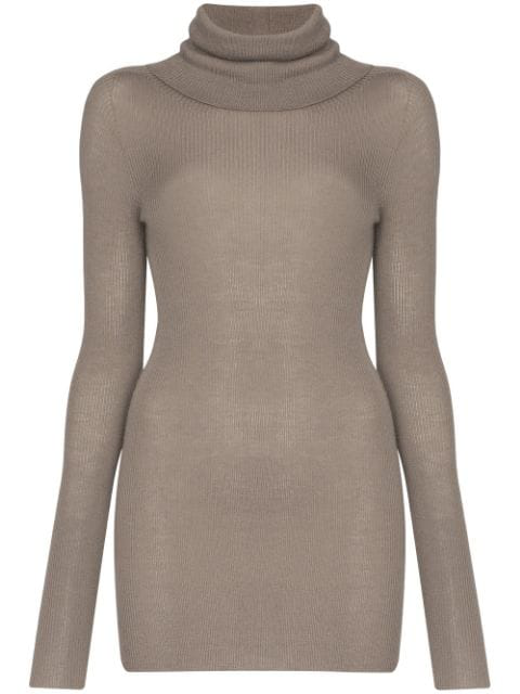 Rick Owens Ribbed Cashmere Jumper In Grey