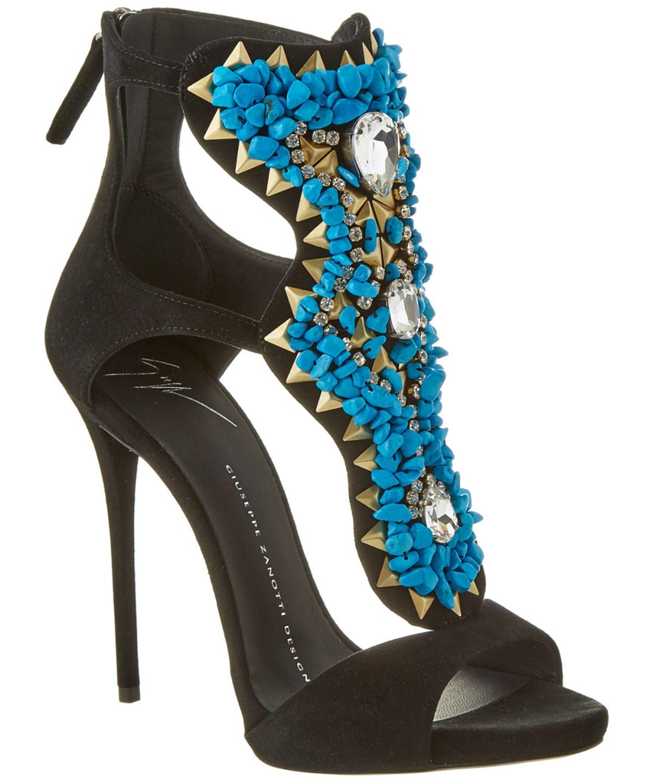 Giuseppe Zanotti Embellished Suede Sandal In Black