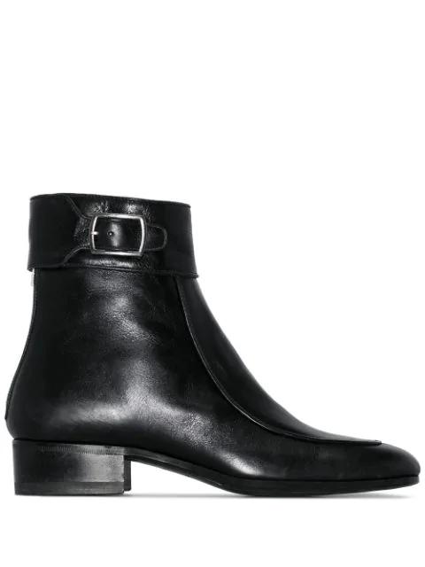 Saint Laurent Black Miles Square Toe Ankle Boot In 1000 Nero