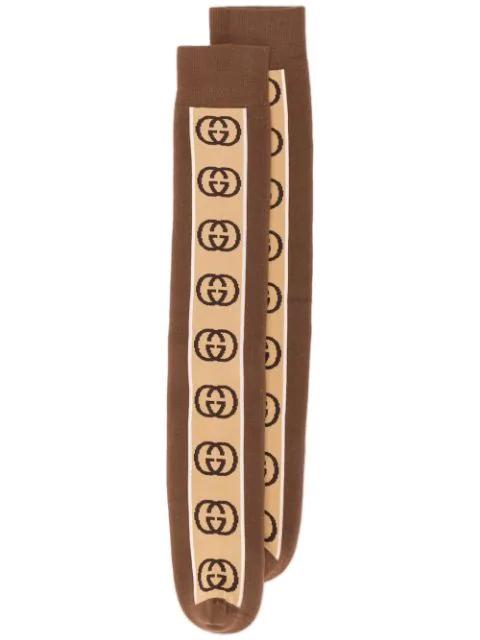 Gucci Men's Interlocking G Stripe Socks In 2579