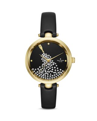 Kate Spade Holland Goldtone Stainless Steel Champagne Bottle Leather Strap Watch In Black