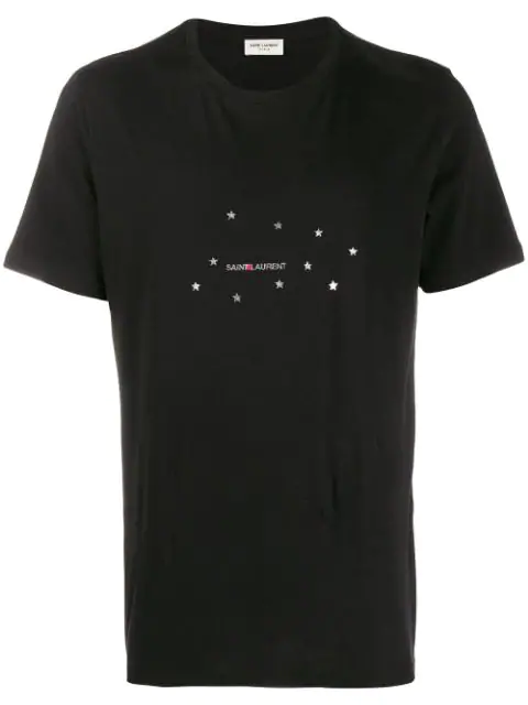 Saint Laurent Men's Stars Logo Short-Sleeve Cotton T-Shirt, Black In 1081 Black Silver