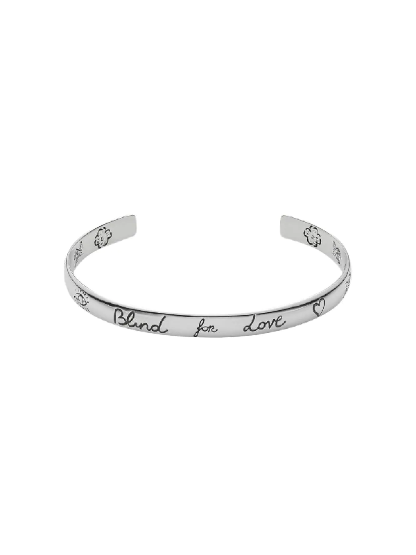 Gucci Sterling Silver Blind For Love Engraved Wide Cuff
