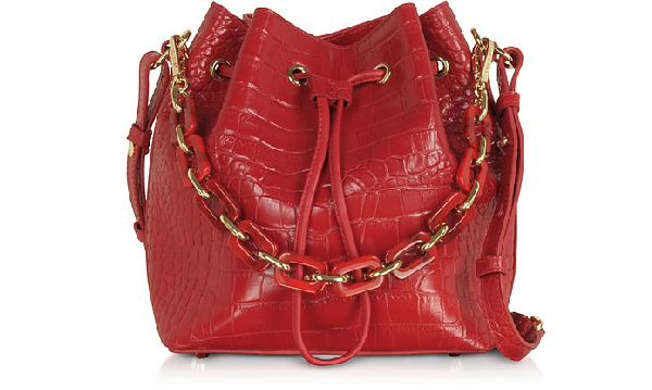 Lancaster Exotic Croco Embossed Leather Bucket Bag In Red