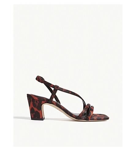 Sandro Leopard-print Cotton-blend Sandals In Orange Leopard