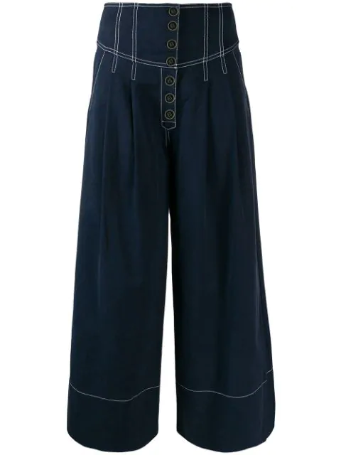 Ulla Johnson Brando Wide Leg Crop Trousers In Blue