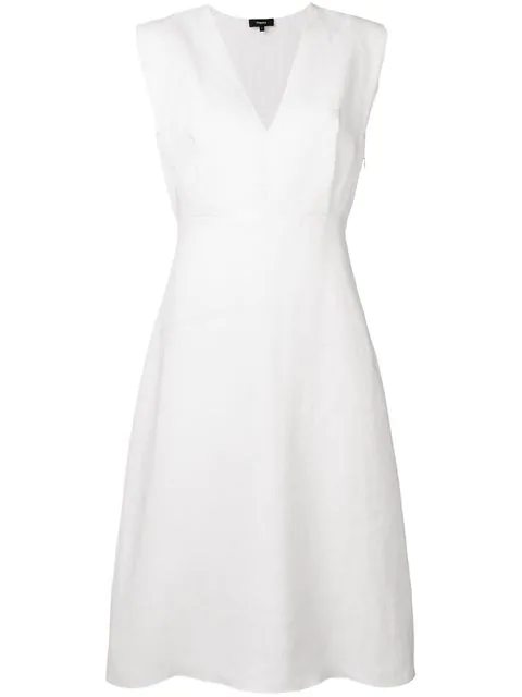 Theory Easy Crew Stretch Linen Blend Shift Dress In 100