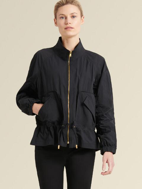 Donna Karan New York Shirred-Sleeve Zip Jacket In Black