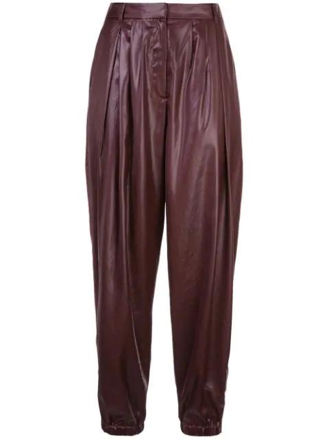 Tibi Liquid Drape Pleated Trousers In Red