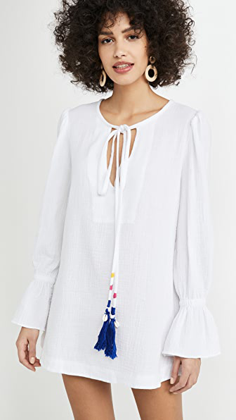 Alix Of Bohemia Loulou Tasseled Textured Cotton Dress In White