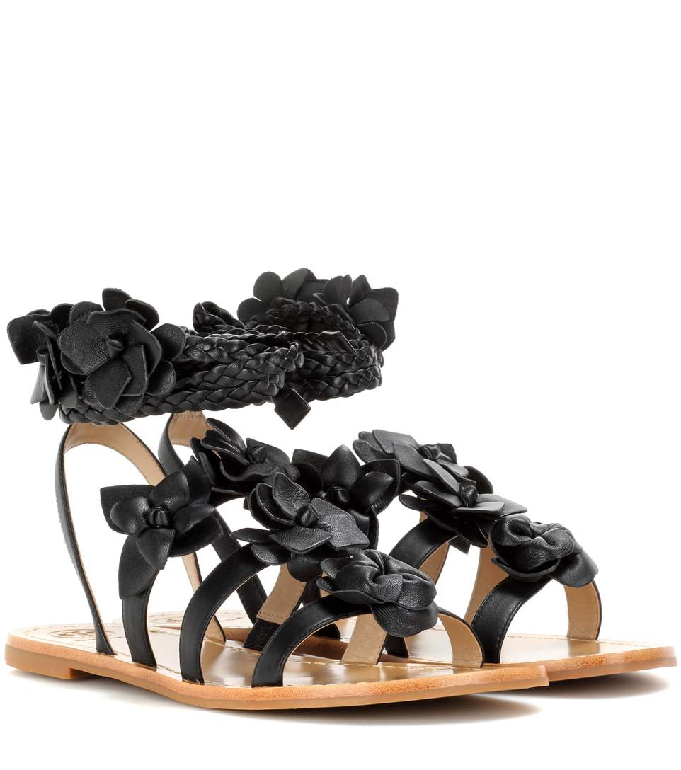 d2e3027a907a1 Tory Burch Blossom Gladiator AppliquÉD Leather Sandals In Black. TORY BURCH