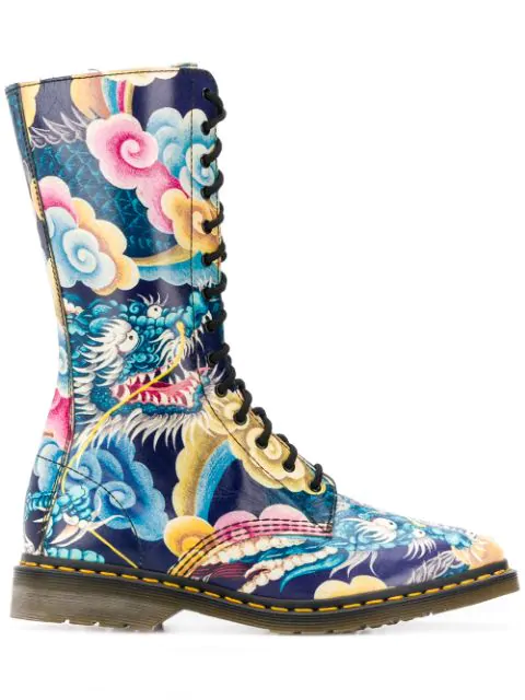 Yohji Yamamoto X Dr. Martens 2000S Japanese Print Combat Boots In Multicolor