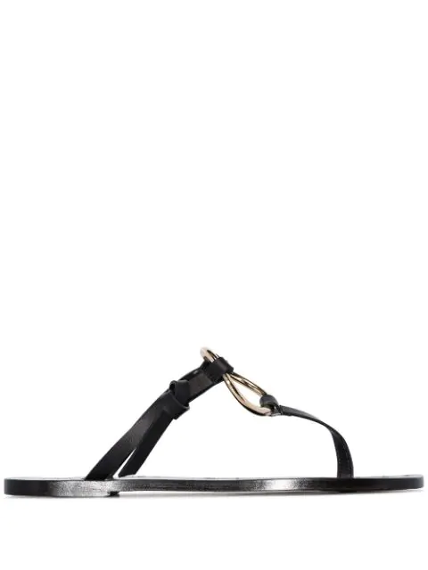 Atp Atelier Black Forna Flat Leather Ring Sandals