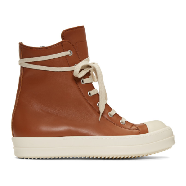 Rick Owens Brown & White Leather High-Top Sneakers In 173 Rust