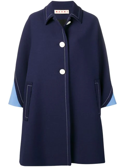 Marni Loose Fit Trench Coat In Blue