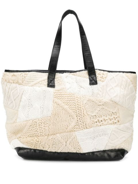 Pre-owned Yohji Yamamoto 2000's Knitted Patchwork Shopper In Neutrals