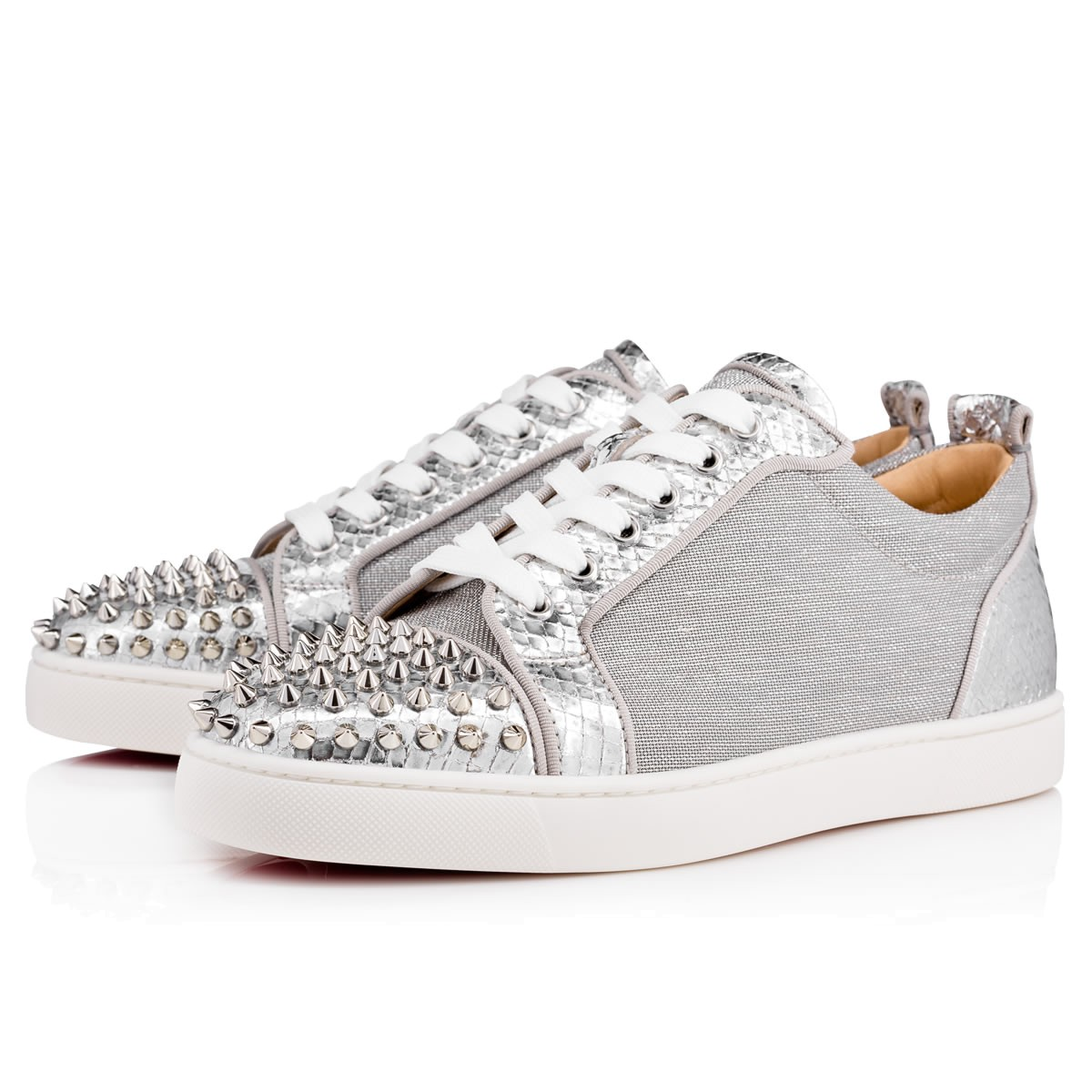 413bb931d5f0 Christian Louboutin Louis Junior Spikes Men s Flat Version Silver Lame  Sirene - Men Shoes -