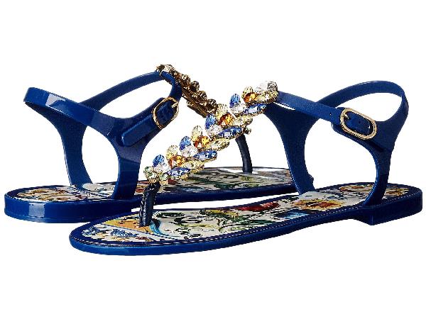 Dolce & Gabbana Maiolica Ceramic Print Jelly Sandal In Blue Maiolica