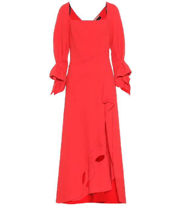 Roland Mouret Trinity Draped Cutout Wool-crepe Midi Dress In Red