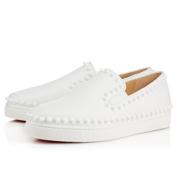 b9d61bcd7e90 Christian Louboutin Pik Boat Spiked Textured-Leather Slip-On Sneakers In  White