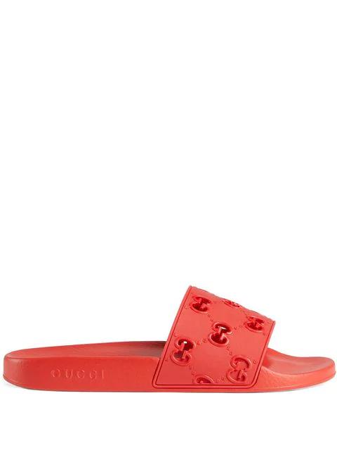 Gucci Pursuit Gg Cutout Rubber Sliders In 6448 Rosso