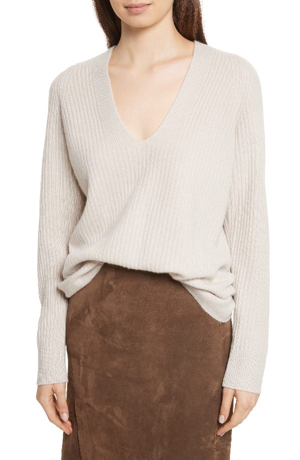 Vince Raglan Ribbed Deep V-Neck Wool-Cashmere Sweater In Chalet