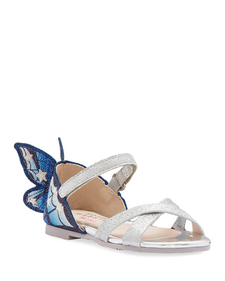 Sophia Webster Chiara Fine Glitter Embroidered Butterfly Wing Sandals, Baby/Toddler In Blue