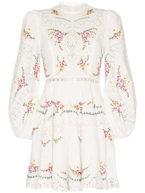 Zimmermann Allia Lace-Trimmed Embroidered Linen And Cotton-Blend Mini Dress In White