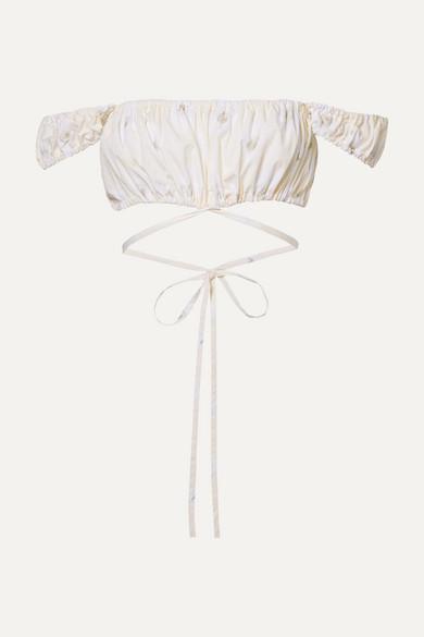 Solid & Striped Peasant Cropped Floral-print Cotton-poplin Top In Ecru